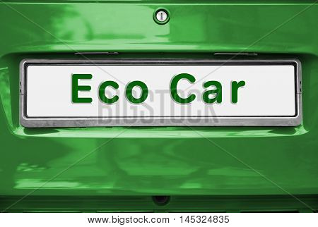 Eco Car concept. License plate on car, closeup.
