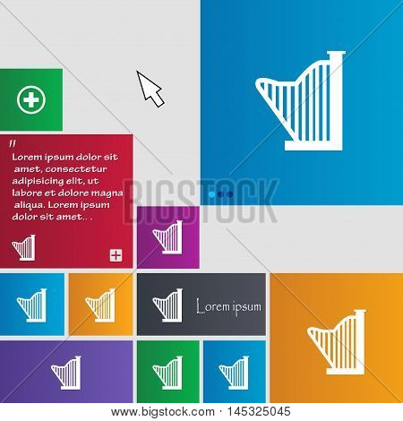 Harp Icon Sign. Buttons. Modern Interface Website Buttons With Cursor Pointer. Vector