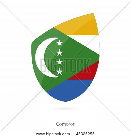 Flag of Comoros in the style of Rugby icon. Vector Illustration.