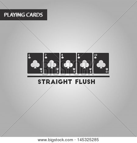 black and white style poker straight flush, vector