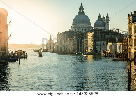Church Saint Mary of Health and Grand canal in beautiful city Venice