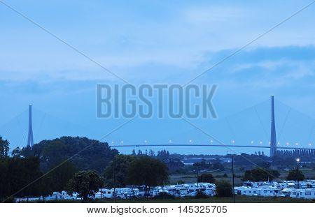 Pont de Normandie in Le Havre. Le Havre Normandy France