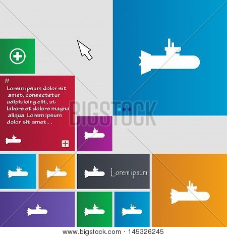 Submarine Icon Sign. Buttons. Modern Interface Website Buttons With Cursor Pointer. Vector