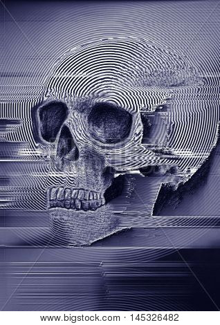 glitched scull background