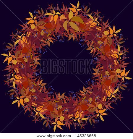 Autumn grape vine circle frame design and label with text place. Wilde grape with red orange leaves and berries. Autumn or fall wreath design background. Vector illustration stock vector.