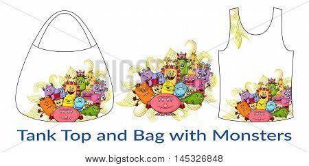 Group of Funny Colorful Cartoon Characters, Different Monsters, Elements for your Design, Prints and Banners, Presented in Sample Forms, Tank Top and Bag, Isolated on White Background. Vector