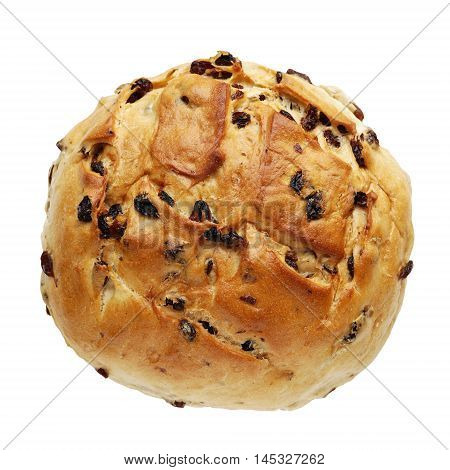 traditional german raisin bread or currant loaf, isolated on white background