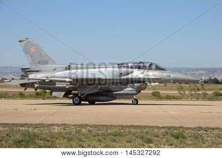 ZARAGOZA SPAIN - MAY 202016: Polish Air Force F-16 fighter jet taxiing after landing on Zaragoza airbase.