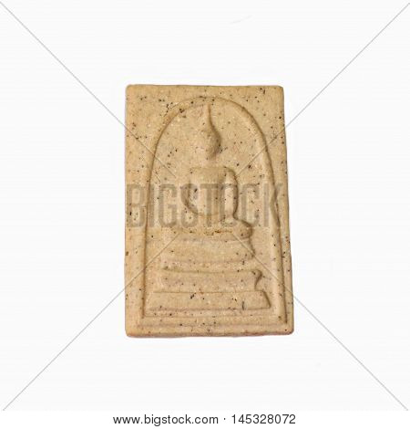 Small buddha image for amulet on a white background. Phra somdej.