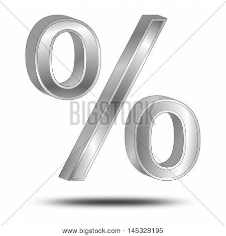 silver Discount Symbol on white background - 3D illustration