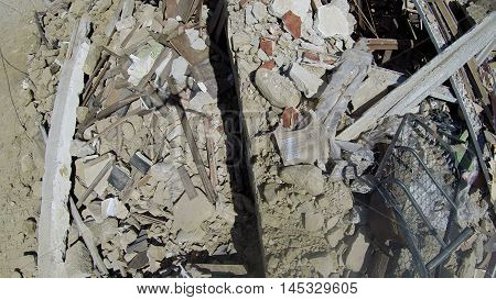 Earthquake Italy - Amatrice 24-08-2016: house totally collapsed