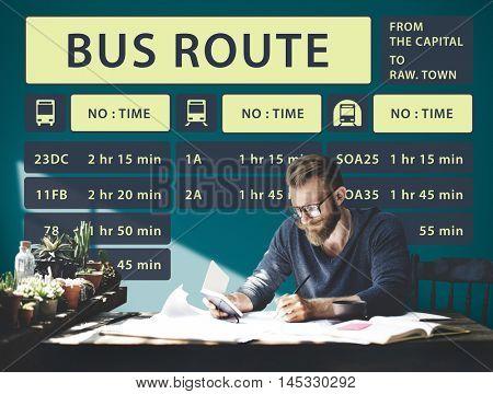 Bus Route Express Terminal Schedule Concept