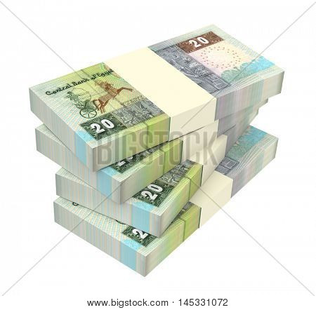 Egyptian pounds isolated on white background. 3D illustration.