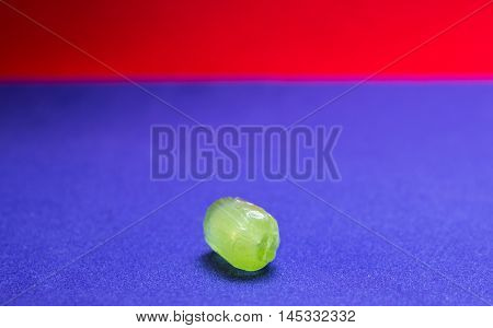 Fruit Hard Candy On Blue And Red Background