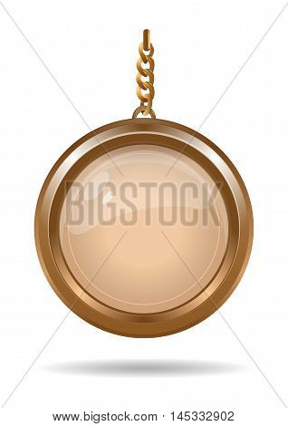 Gold medallion on a gold chain. Round keychain. Vector illustration.