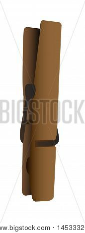 Wooden Clothes Peg on White Background. Isolated vector illustration realistic drawing.