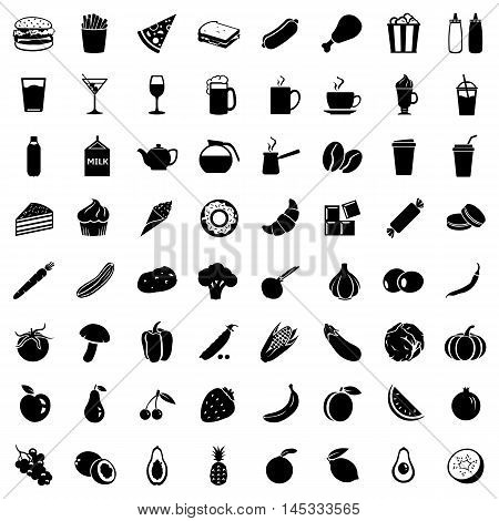 Vector Set of 64 Food Icons. Food and Drinks. Fast Food. Dessert. Vegetables. Fruits. Food sign for Restaurant Menu.