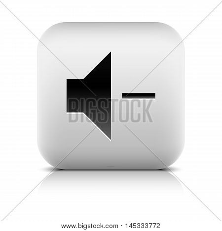 Media player icon with volume decrease sign. Rounded square web button with black shadow gray reflection on white background. Series in a stone style. Vector illustration internet design element 8 eps