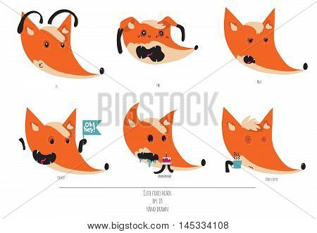 Cute vector set of playful foxes heads with various emotions. Oh hey love you meh fml need coffee. Hand drawn cute illustration isolated on white background