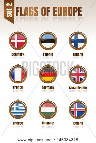 Flags of Europe in the form of circular pendants vector illustration. Set 2.
