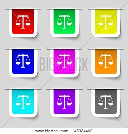 Scales Of Justice Icon Sign. Set Of Multicolored Modern Labels For Your Design. Vector