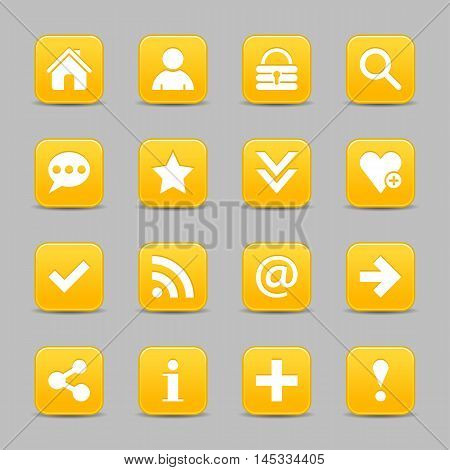 16 yellow satin icon with white basic sign on rounded square web button with color reflection on background. This vector illustration internet design element save in 8 eps