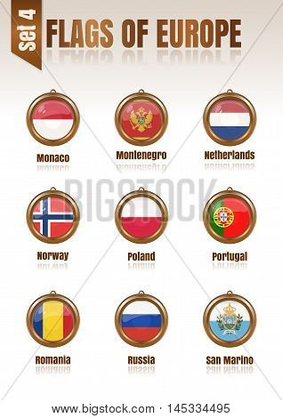 Flags of Europe in the form of circular pendants vector illustration. Set 4.