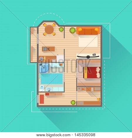 Apartment Interior Design Project View From Above. Flat Simple Bright Color Vector Plan Of Furniture Placement