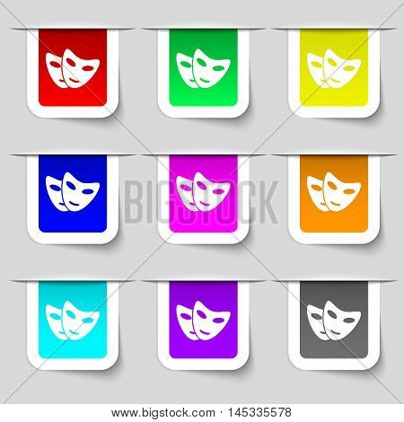 Mask Icon Sign. Set Of Multicolored Modern Labels For Your Design. Vector