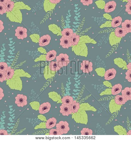 Seamless pattern with anemones eucalyptus and leaves