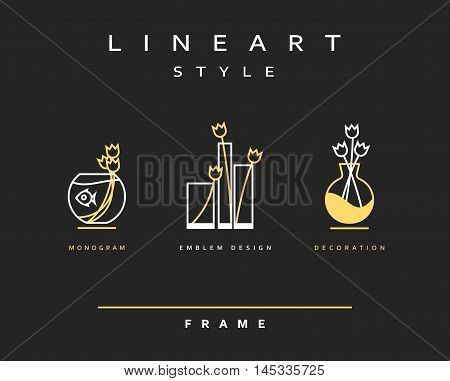 Vase with flowers isolated objects. Designed in the style line art aquarium with fish and flowers tulips. For the design of posters, banners, icons vase with flowers