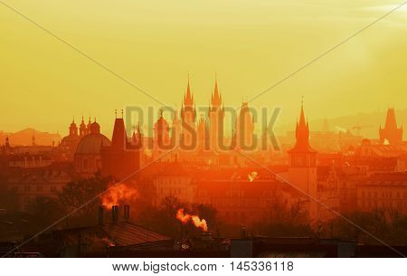 The Gothic Church Of Our Lady Before Tyn During Amazing Sunrise. City Of Hundred Spires. Beautiful S
