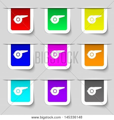 Whistle Icon Sign. Set Of Multicolored Modern Labels For Your Design. Vector