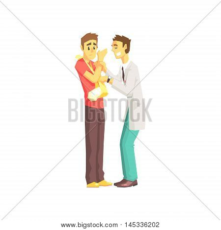 Doctor And Patient With Broken Arm Hospital And Healthcare Themed Illustration. Cool Colorful Vector Sticker In Stylized Geometric Cartoon Design
