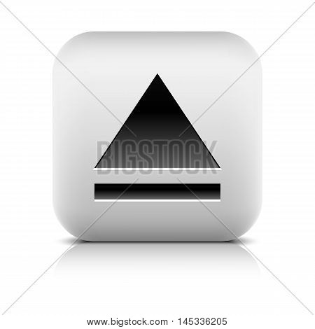 Media player icon with eject sign. Rounded square web button with black shadow gray reflection on white background. Series in a stone style. Graphic vector illustration internet design element 8 eps