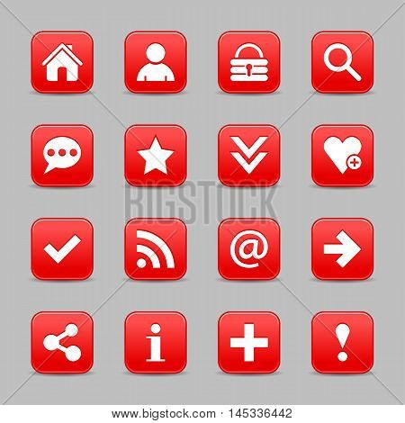 16 red satin icon with white basic sign on rounded square web button with color reflection on background. This vector illustration internet design element save in 8 eps