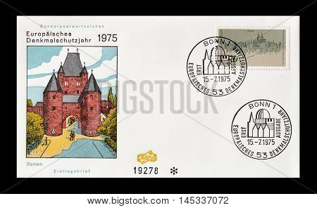 GERMANY - CIRCA 1975 : Cancelled First Day Cover letter printed by Germany, that shows children Xanten.