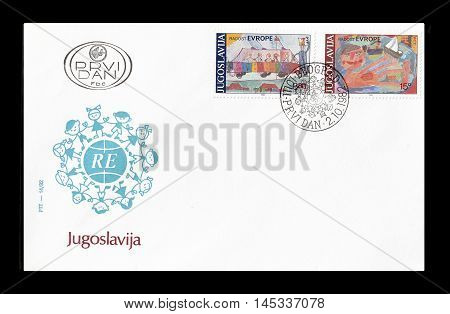 YUGOSLAVIA - CIRCA 1982 : Cancelled First Day Cover letter printed by Yugoslavia, that shows children drawings.