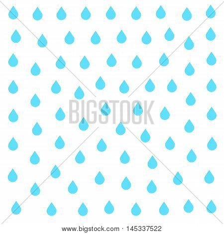 Rain doodle flat isolated on white background. Downpour, rain weather rainfall. Natural effect with rain. Rain cartoon style