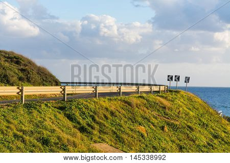 country road by the sea in Sardinia Italy