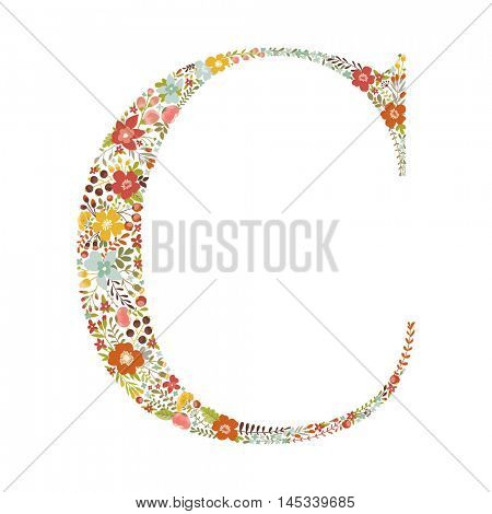 C letter with decorative floral ornament