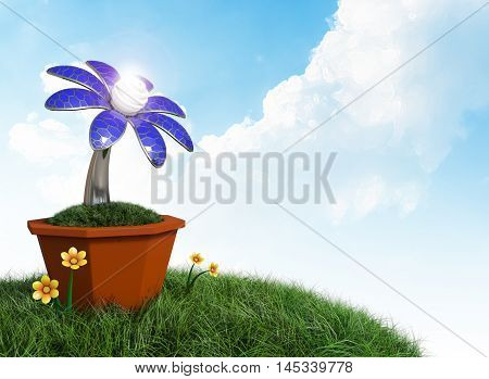 3D rendering Solar cells electric flower in a pot on grass field and blue cloudy sky background.