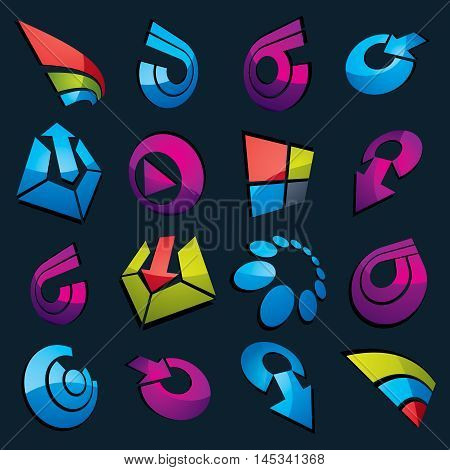Vector Dimensional Business And Corporate Graphic Symbols Collection. Set Of Arrows And Different Si