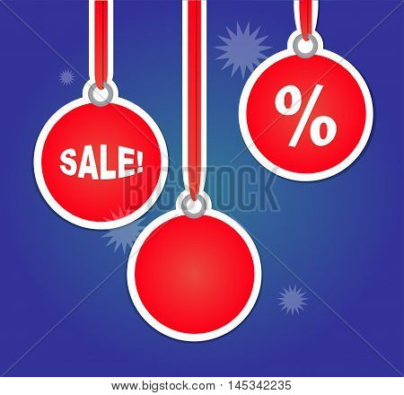 Christmas Sales Advertisement with Bulbs. Vector illustration with holiday and bussiness theme. Blue and red shades of colors.