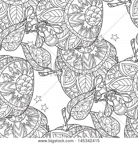Honey apple doodle and bees semless pattern.Hand drawn vector illustration. Sketch for tattoo adult coloring anti stress book. Zen art collection boho style.