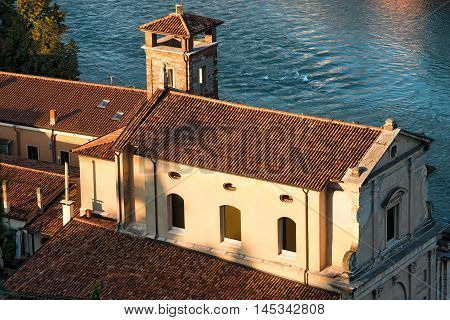 Chiesa del Redentore (Church of the Redeemer) and Adige River in Verona Italy. UNESCO world heritage site - Veneto Italy