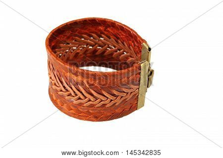 braided leather bracelet isolated on a white background. shallow depth of field