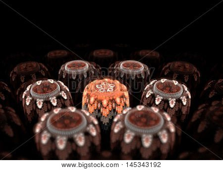 three-dimensional volumetric fantastic flowers in a dark space, orange and turquoise fractal