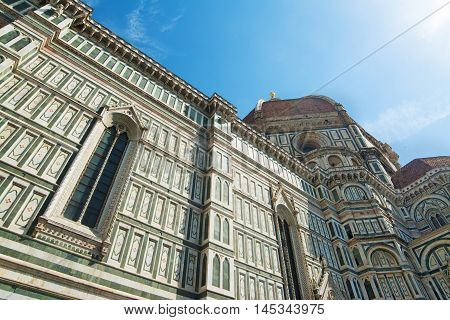 blue sky over Santa Maria del Fiore cathedral in Florence Italy