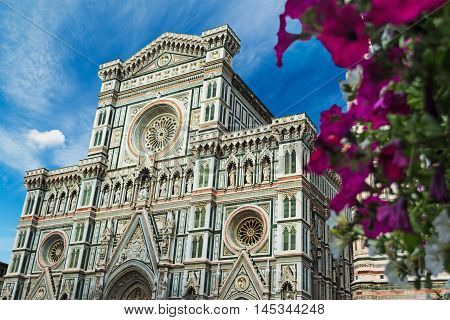 front view of Santa Maria del Fiore cathedral in Florence Italy